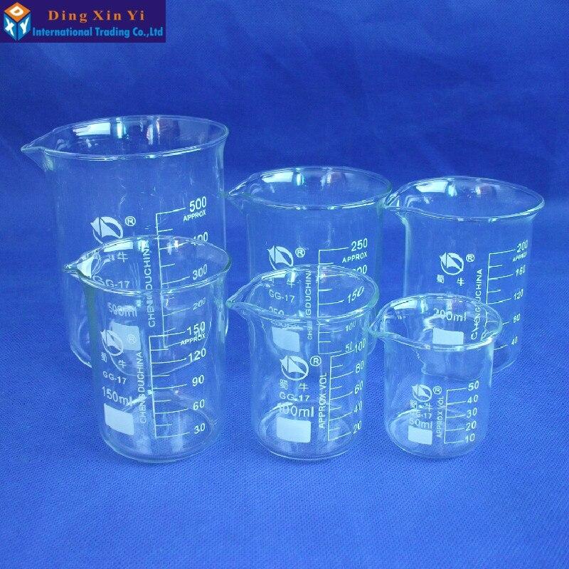 SHUNIU Forma Baixa Copo Transparente Copo de Vidro de Borosilicato de Laboratório De Química 50/100/150/200/250/ 500/1000/2000/3000ml