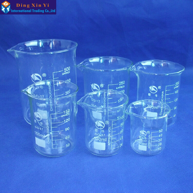 SHUNIU Low Form Beaker Chemistry Laboratory Borosilicate Glass Transparent Beaker  50/100/150/200/250/500/1000/2000/3000ml