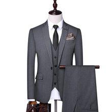 Gli uomini In Giacca e Cravatta, 3 Pezzi Vestiti di Nero Vestito, Signore Vestito, Vestito degli uomini, Grigio Vestito, giacca da smoking, Dello Sposo Vestito di Cerimonia Nuziale,