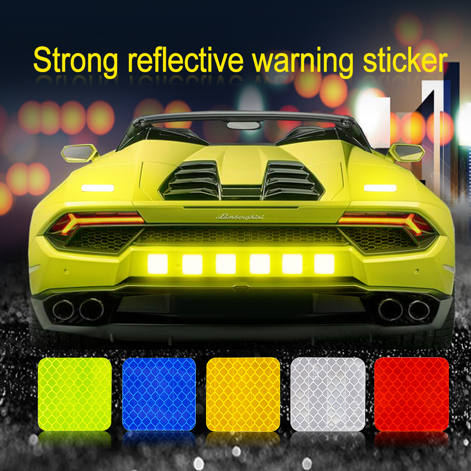 Car Solid Color Square Reflective Strip Warning Sticker For Bus Reflective Waterproof Anti-collision Safety Door Stickers