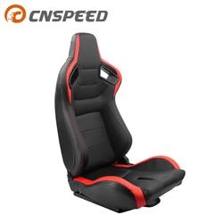 1 Uds asientos deportivos de cubo reclinables ajustables de cuero negro rojo PVC asientos universales de carreras de coches