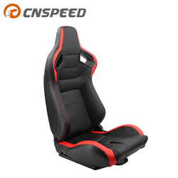 1PCS  Adjustable Black Red PVC Leather Recline Bucket Sport Seats Universal Car Racing Seats