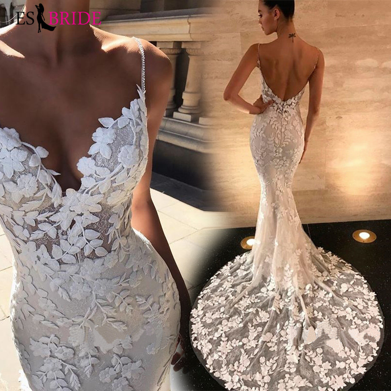 White Simple Evening Dresses Fashion Lace Appliques Mermaid Sexy Evening Dress Party Formal Elegant Sexy Evening Gown ES2650