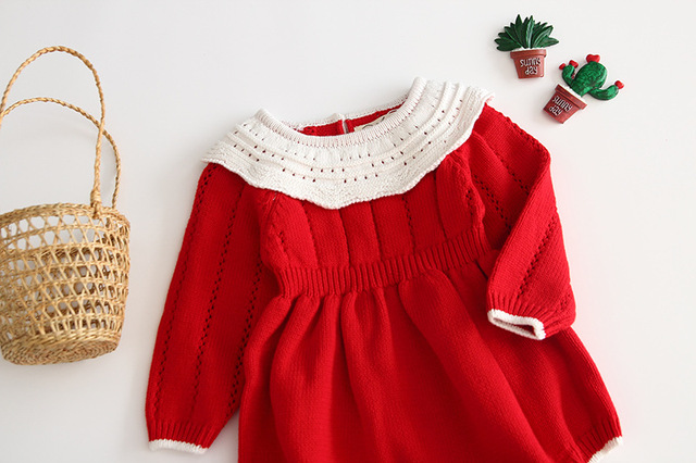Baby Girls Knitting Romper 2019 Autumn Red Girl Clothes Newborn Baby Girl Clothes Fashion Knitted Romper Overalls Autumn Sweater 2
