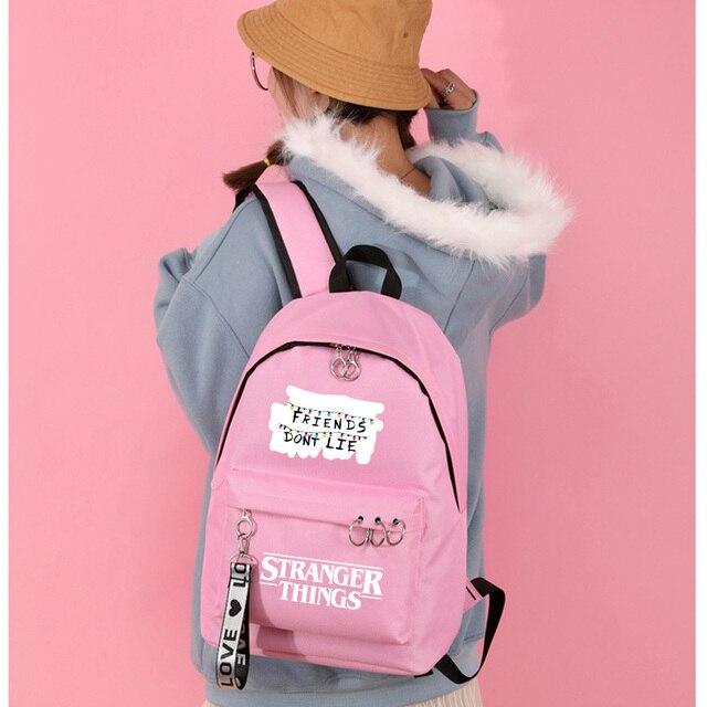 Рюкзаки imido «очень странные дела» для студентов черные и розовые