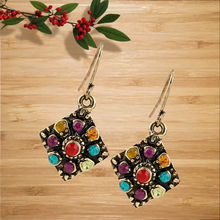 Fashion Multi-Color Crystal Drop Earrings Women Gold Color Maxi Statement Earrings Wedding Party Jewelry Christmas