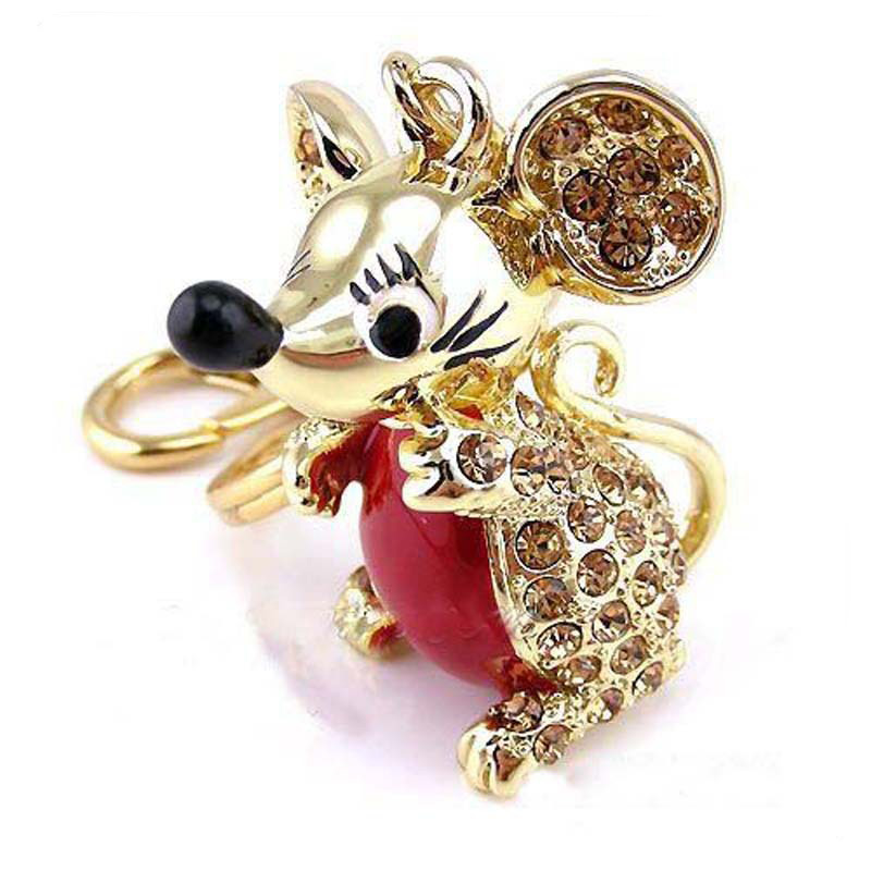 Cute Lucky 12 Zodiac Mouse Keychain Crystal Enamel Handbag Keyrings Charms Rat Animal Jewelry For Women Gift Car Key Chain