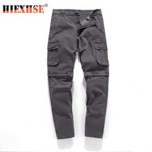 HIEXHSE Spliced Pants Men Multi-pocket Washed Overalls Men Loose Cotton