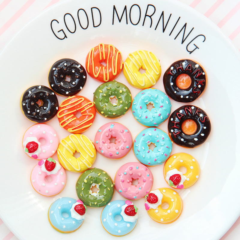 10Pcs Cute Candy Cream Donut Simulation Food Pretend Play Dollhouse Accessories Decor Miniature Cake Kids Kitchen Toys For Dolls