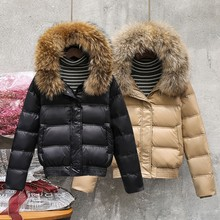 Натуральное меховое пальто женский воротник из натурального меха зимняя куртка женская короткая пуховая куртка белая пуховая куртка Толстая теплая пуховая парка