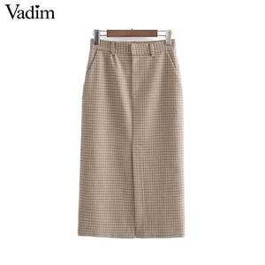Image 1 - Vadim elegante para mujer houndstooth plaid midi falda cremallera fly bolsillos dividido a cuadros mujer Oficina wear chic faldas BA895
