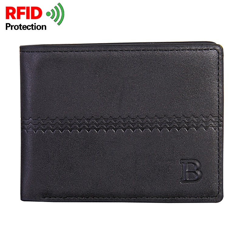 Short Wallet For Men Leather PU Dollar Pack Vintage Solid Business Casual Wallets Male Multi Cards Slots Purse RFID Protection