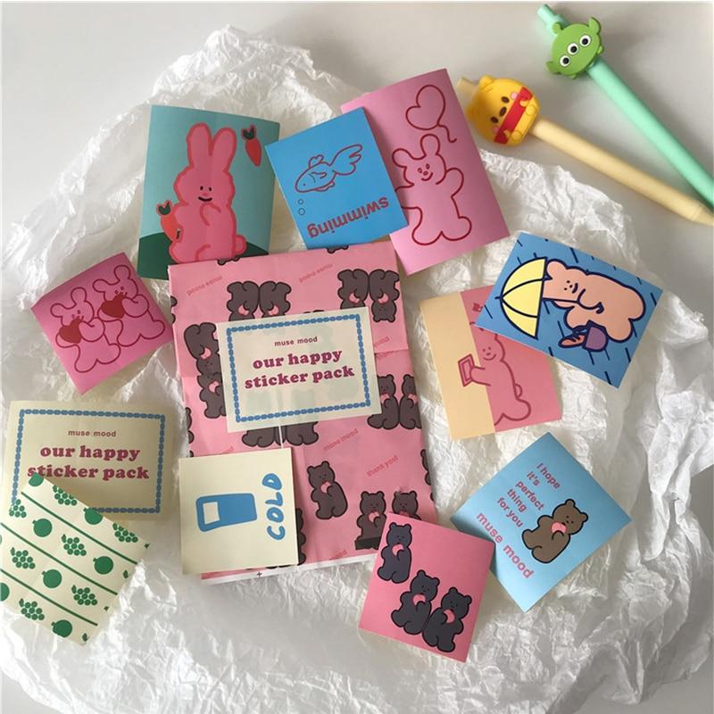 11PCS/bag Cartoon Bunny Sticker Pack DIY Scrapbooking Album Diary Mobile Phone Happy Planner Decoration Sticker