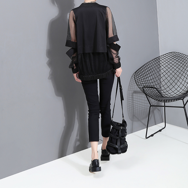 [EAM] Loose Fit Perspective Big Size Hollow Out Jacket New Stand Collar Long Sleeve Women Coat Fashion Tide Spring 2021 JF73401 4