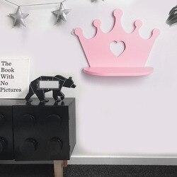 Różowy drewniany korona półka ścienna do pokoju księżniczki córka dekoracja do pokoju dziewczęcego najlepszy prezent przedszkole lalki półki w Półki i stojaki od Dom i ogród na