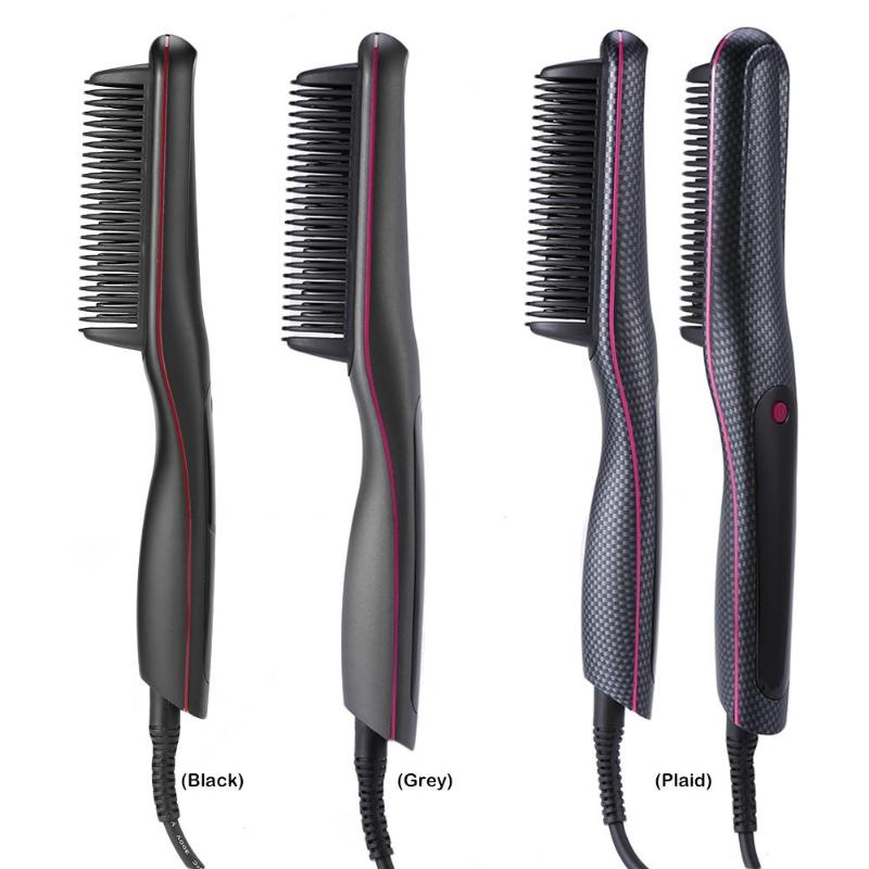 Купить с кэшбэком Multifunctional LED Digital Hair Straightener Comb Temperature Adjustment Men Beard Brush Heat Hair Ceramic Curler Hair Comb