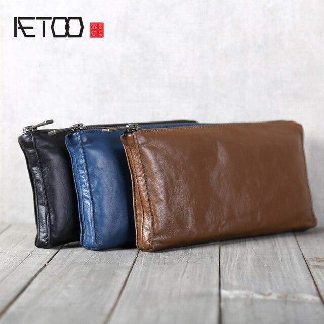 AETOO portefeuille en cuir fait à la main, couche de tête horizontale en cuir de vache