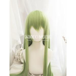 Image 1 - FGO גורל גרנד סדר Enkidu פאה ירוק 90cm ארוך ישר קוספליי סינטטי שיער למבוגרים Enkidu פאה