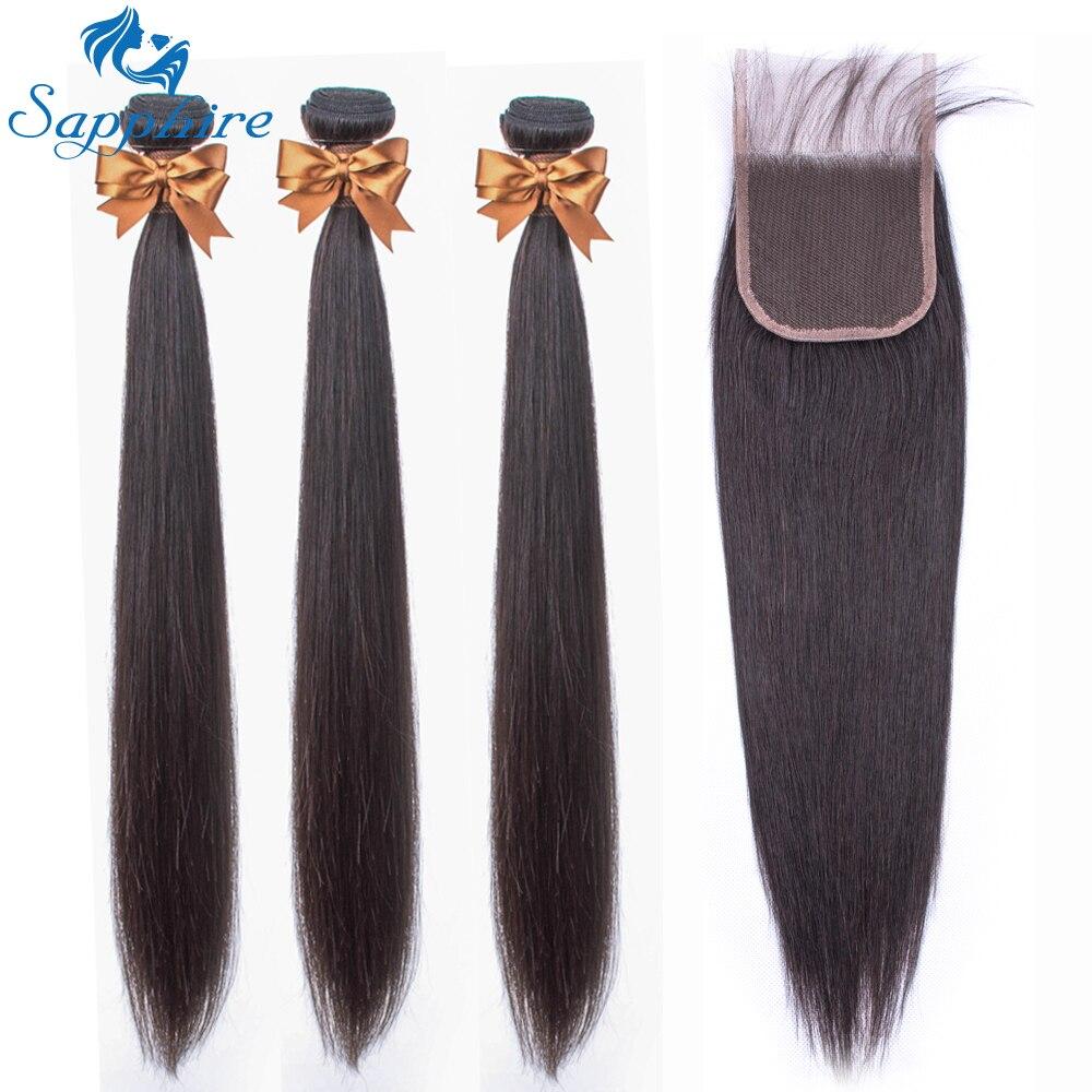 Sapphire Hair Brazilian Straight Human Hair Bundles With Lace Closure Brazilian Hair Weave 3 Bundles With Closure NonRemy Hair