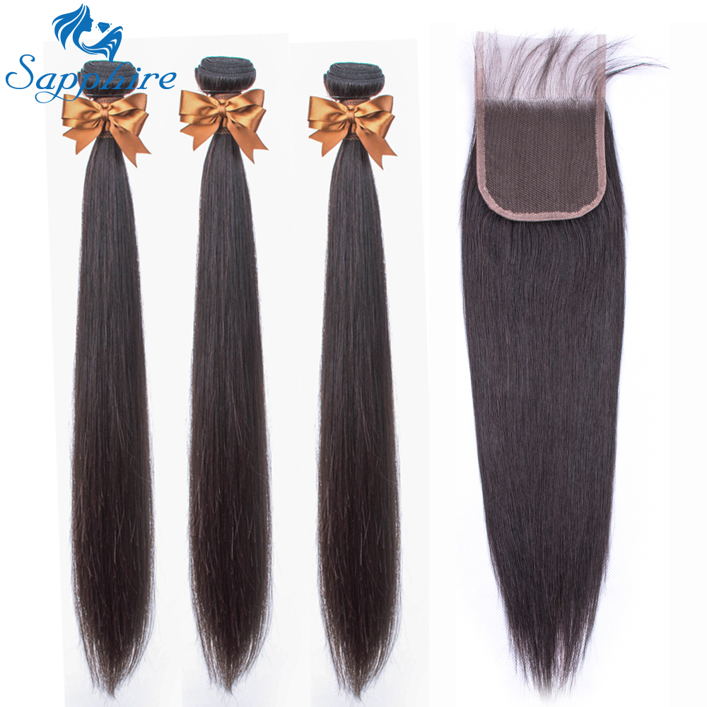 Straight Hair Bundles With Closure Brazilian Human Hair Bundles With Closure Remy SAPPHIRE Bundles Straight Hair With Closure