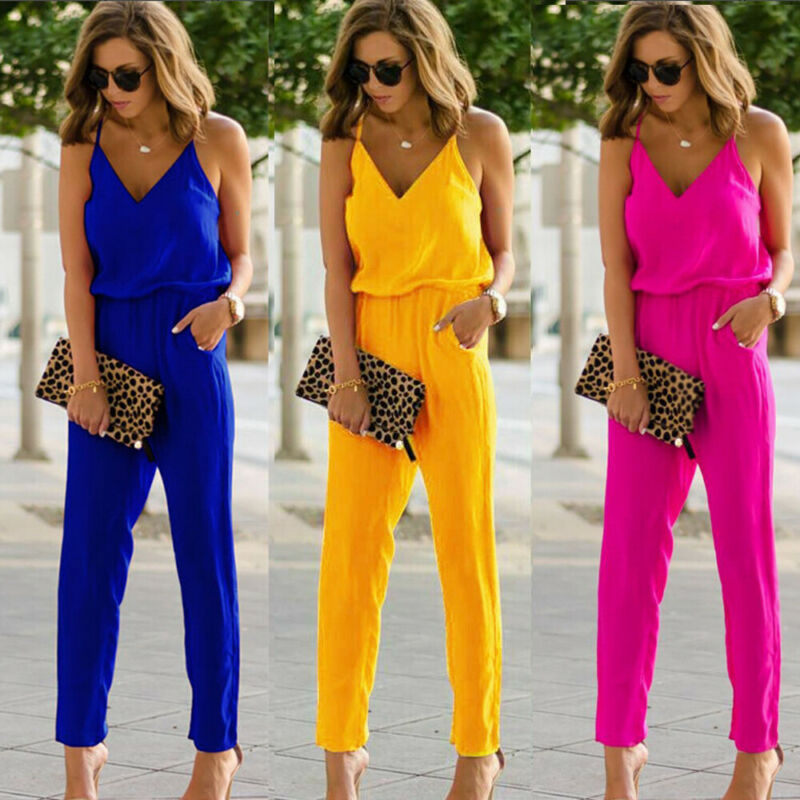 2020 Womens Sexy Spaghetti Summer Sleeveless Jumpsuit Strap Wide Legs V-Neck Female Bodycon Jumpsuit 3 Colors Jumpsuit
