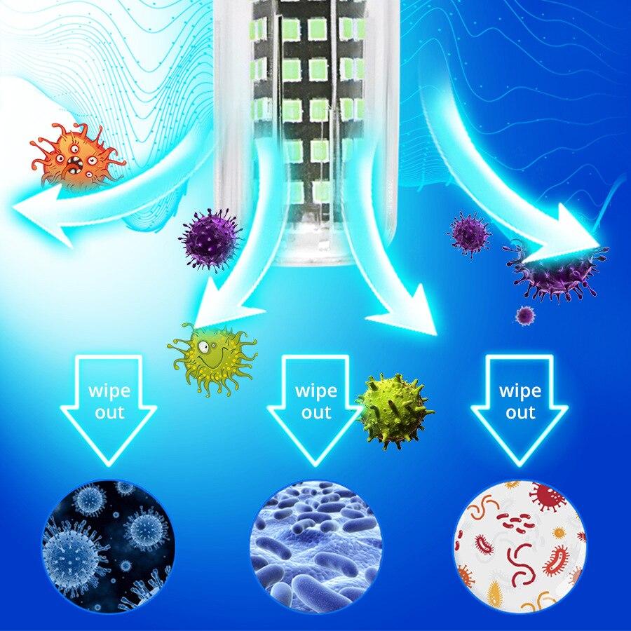 Новая портативная бактерицидная лампа UVC 110 В 220 В, ультрафиолетовая озоновая лампа E27 E14 20 Вт, УФ-лампа для озона, бактерицидная дезинфекция