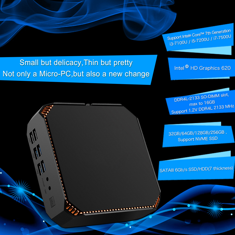 4K player win tv box CK2 Mini PC In-tel i7-7500U BT iptv box win10 Fast Performance Smart Player HDMI VGA 6*USB 4K Gaming minipc image