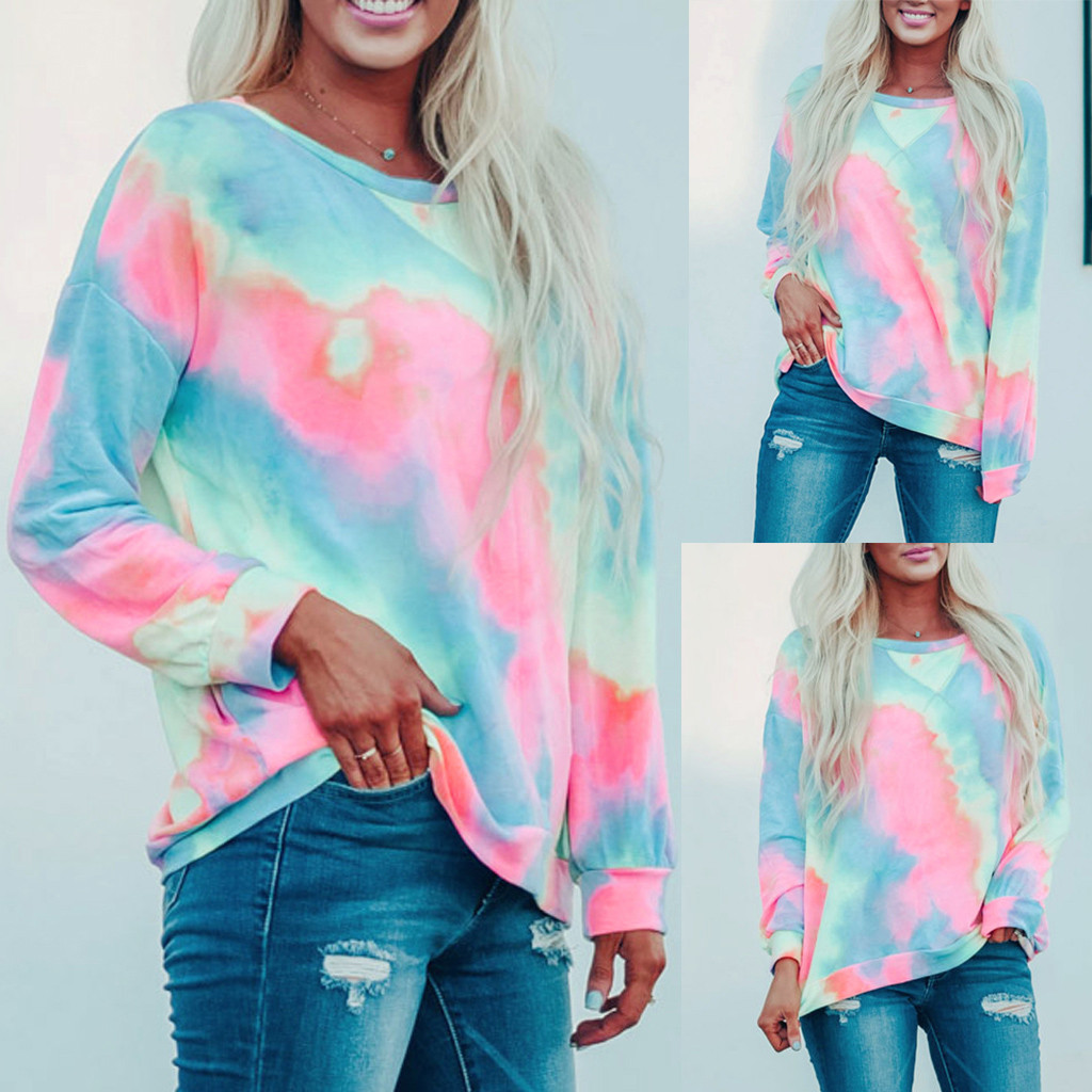 Womens O-Neck Long Sleeves Colour Tie-dyed Pullover Tops Sweatshirt Casual Gradient Loose Outwear Oversize Women sweatshirts
