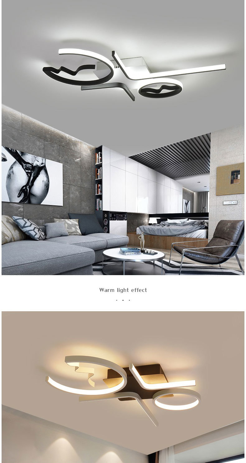 Hbb26ce2890bc41c78ddc9366ef94673bh Aluminum Wave Ceiling Lights Modern LED Lamp for Living room Bedroom luminaire plafonnier Bedroom Ceiling Lamp Lampara de techo