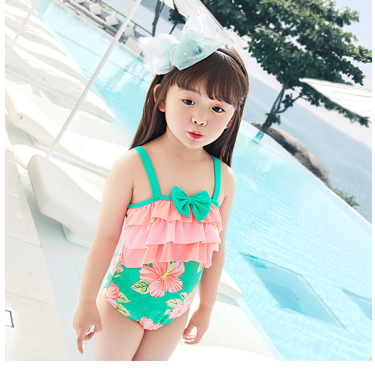 2020 Hot Sales KID'S Swimwear Small Children GIRL'S Color Sloping Shoulder Printed Cake Cute One-piece Swimwear Combination