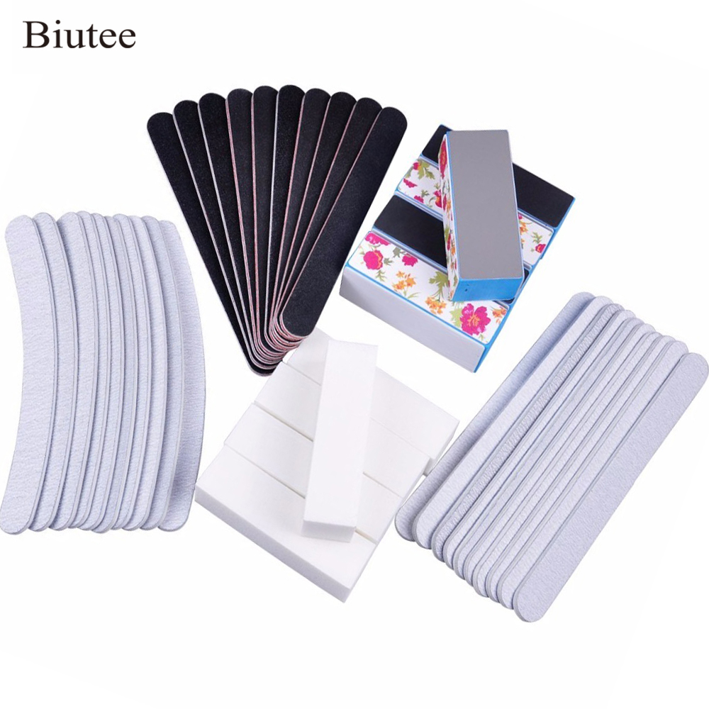 Biutee 40pcs/set Nail Manicure Files Straight Banana Buffer Set Gray Black Sand Surface Sponge Ideal For Natural And Acrylic Kit