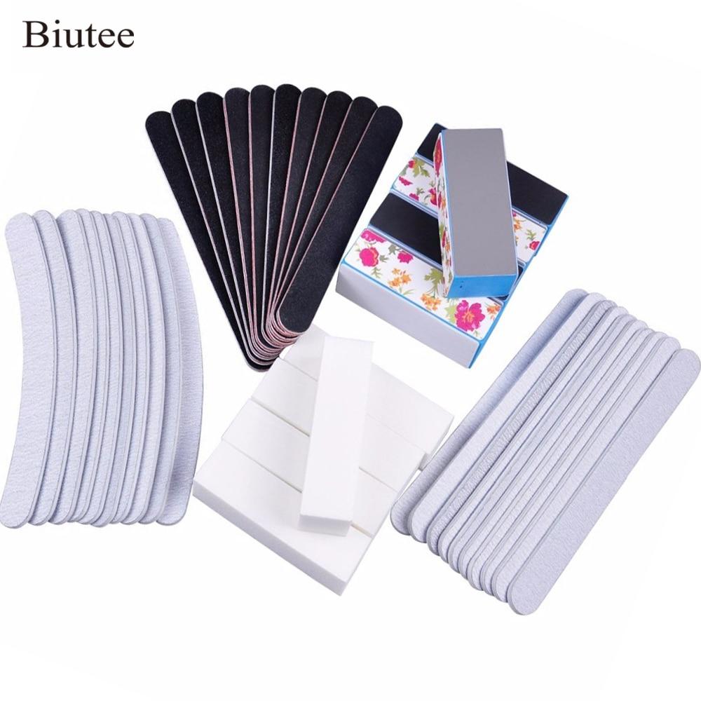 Biutee 40pcs/set Nail Manicure Files Straight Banana Buffer Set Gray Black Sand Surface Sponge Ideal For Natural And Acrylic Kit