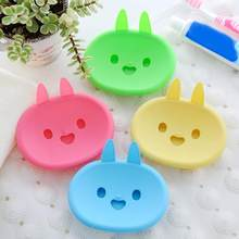 Lovely Cartoon Rabbit Bathroom Soap Dish Box Double Layer Draining Double Soap Box Soap Holder(China)