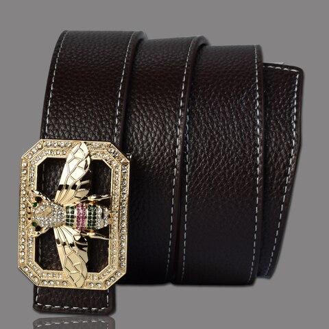 Luxury Brand Belts for Men &Women Unisex Fashion Shiny Bee Design Buckle High Quality Waist Shaper Leather Belts 2019 Multan