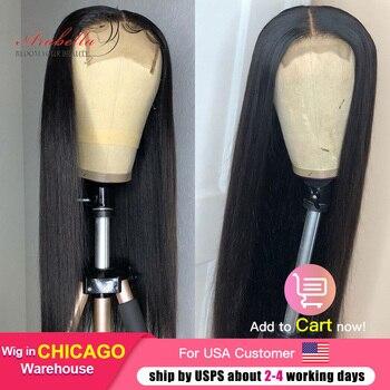 Perulu düz saç dantel kapatma peruk ile bebek saç ön koparıp Arabella Remy 150 180 yoğunluk 4x4 kapatma peruk insan saçı peruk