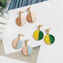 1Pair Korean Statement Drop Earrings Big Dazzle Contrast Color Fashion Round Creative Geometric Eardrop Dangle