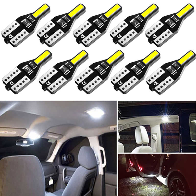 10x T10 LED W5W Bulb Auto Interior Reading Doom Trunk Light for Peugeot 206 406 508 307 406 3008 Led Car Lights 6000K White 12V