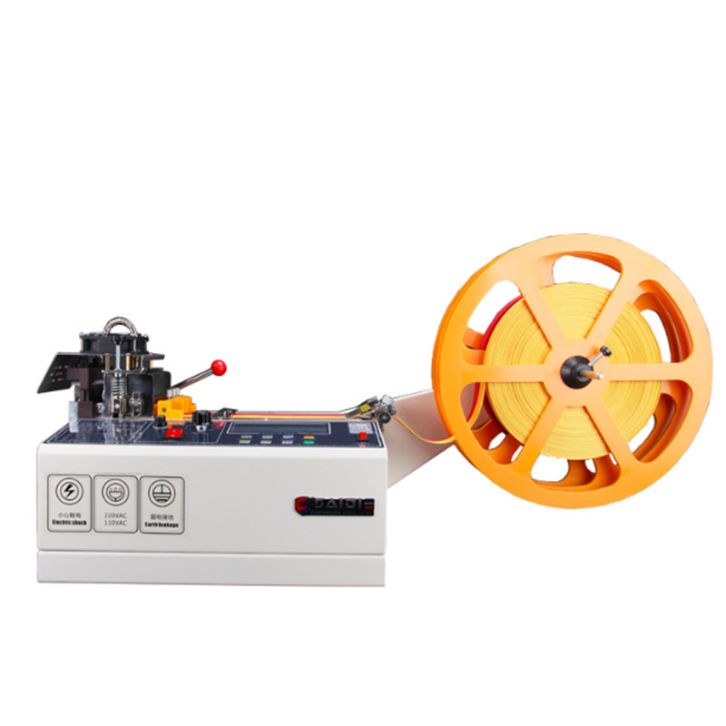 988T Computer Automatic Hot And Cold Cloth Belt Cutting Machine, Magic Adhesive Tape Zipper Webbing Machine Elastic Belt Cutting