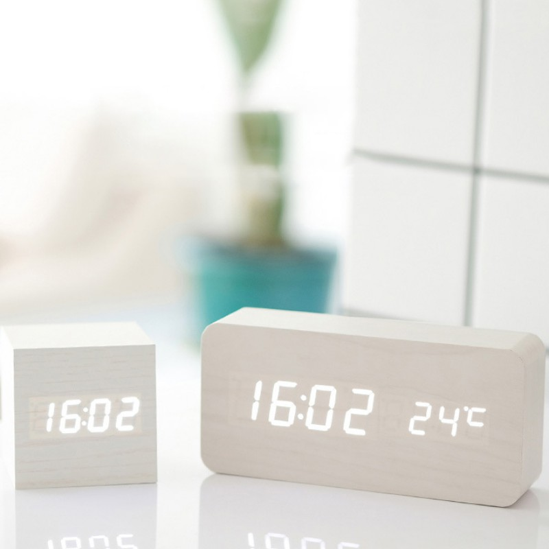 LED Alarm Clock Digital Multifunction Modern Wooden Desk Clock Square Sounds Control Thermometer Home Decoration image