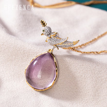 925 Sterling Silver Natural Amethyst Zircon Bird Pendant Necklace Fine Jewelry Women Designer Trendy  Golden Necklace Party Gift