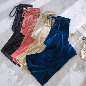 Woman Pants Harajuku High Waist Wide Leg Winter Ladies Pants 2020 Autumn Warm Black Lace Up Loose Trousers Women Plus Size