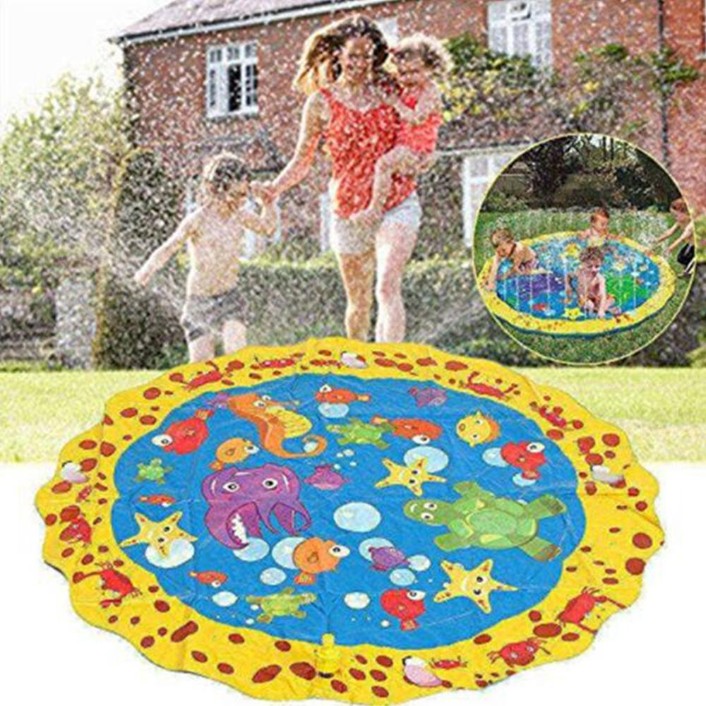 100cm Kids Baby Inflatable Water Cool Sprinkler Play Spray Pad Mat Games Outdoor Beach Sea Summer Cushion Toys For Lawn Paly