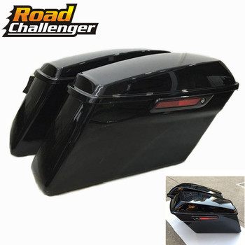 Motorcycle ABS Black Hard Saddlebags Luggage Box Case For Harley Touring Road King FLHRC Street Electra Glide Ultra 2014-2019