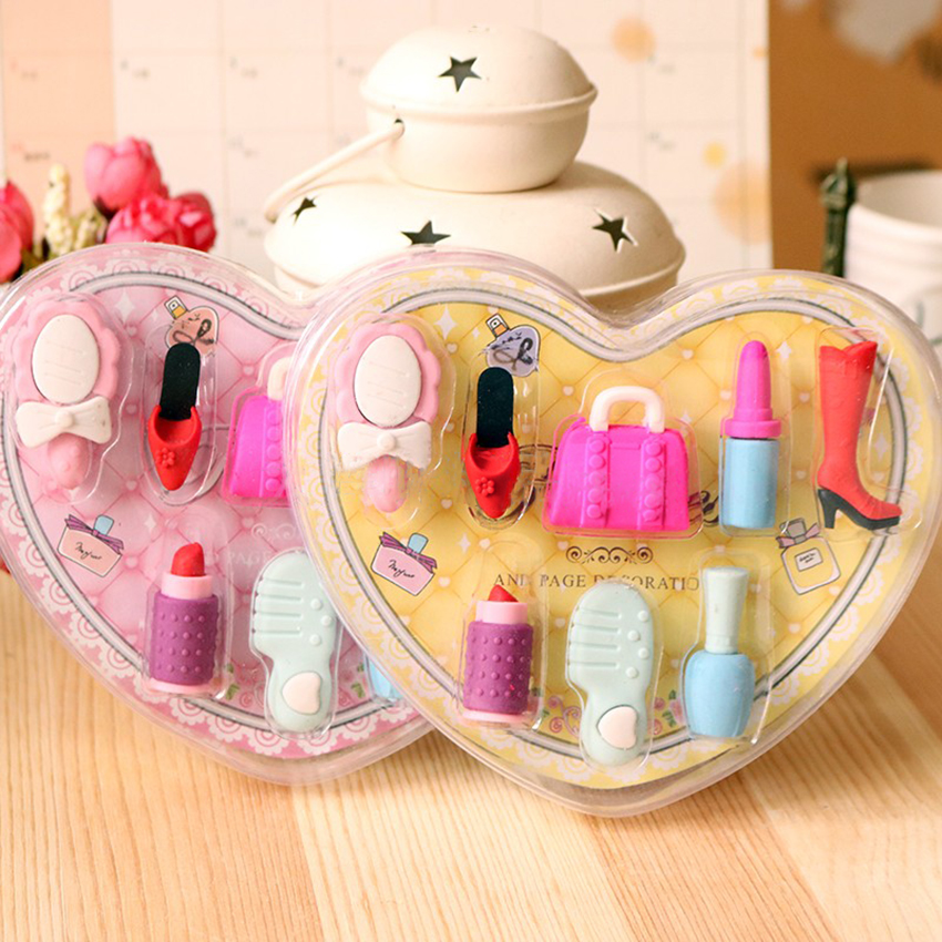 Fashion Girls Cosmetics Pencil Eraser, Cute Heart Shaped Gift Box Perfume Case Students School Stationery Supplies Rubber Eraser