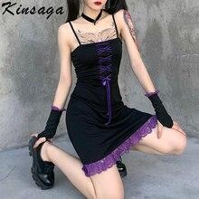 Foncé académique esthétique Mini robe femmes Y2k centre commercial Goth cravate dentelle bord sangle robes Sexy noir Punk dos nu robe avec des gants