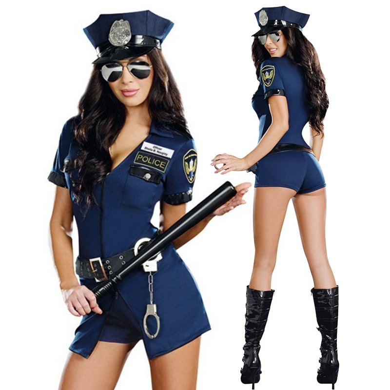 Hot <font><b>Sexy</b></font> Police Woman Officer Uniform <font><b>Costume</b></font> <font><b>Halloween</b></font> Clubwear Zipper Erotic Outfit Cosplay Carnival Fancy Party Dress image