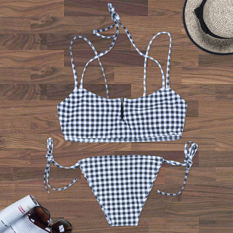 2018 New Style Europe And America WOMEN'S Seperated Swimwear Black And White Small Sexy Chest Zipper Bikini