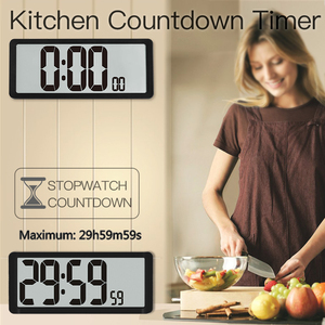 Image 2 - Temporizador de Cuenta regresiva súper grande, reloj de pared de cocina, pantalla LCD grande con temperatura, calendario, pantalla de día, reloj despertador, Mesa