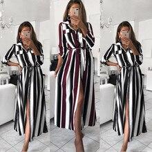 Office Ladies Long Shirt Dress Fashion Plus Size Striped Full Sleeve Turn-down Collar Casual Women Autumn Dress Maxi Vestidos цена и фото