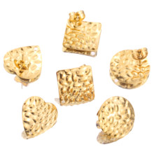 10pcs Stainless Steel Gold Bump Round Heart Square Stud Earring Ear Base for DIY Hand Made Earrings Jewelry Making Supplies